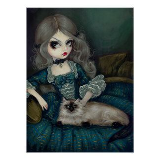 Princess with a Himalayan Cat gothic rococo Print