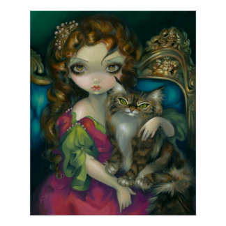 Princess with a Maine Coon Cat ART PRINT rococo