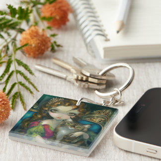 """Princess with a Maine Coon Cat"" Keychain Acrylic Keychain"