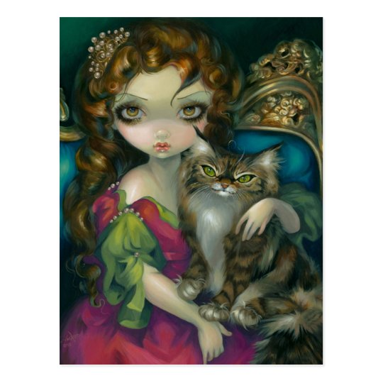 """""""Princess with a Maine Coon Cat"""" Postcard"""