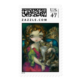"""""""Princess with a Maine Coon Cat"""" Stamps"""