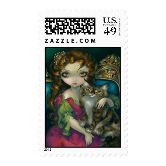 """Princess with a Maine Coon Cat"" Stamps"