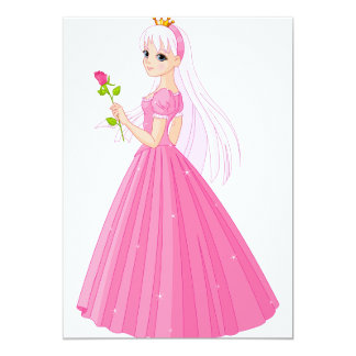 "Princess With A Rose Invitations 5"" X 7"" Invitation Card"