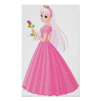 Princess With A Rose Poster