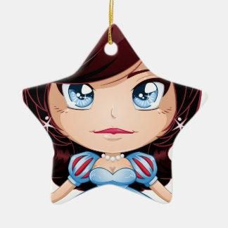 Princess With Black Hair In Blue Dress Ceramic Ornament