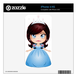 Princess With Black Hair In Blue Dress Skins For The iPhone 4
