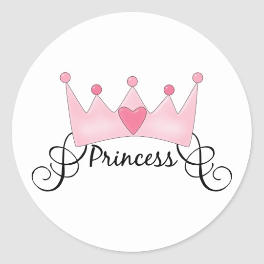 Princess With Crown - Customizable Classic Round Sticker