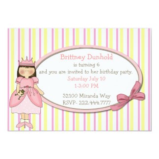 Princess with Frog Birthday Party Invitation