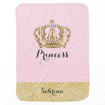 Princess with Gold Crown with Diamond - Baby Girl Receiving Blanket