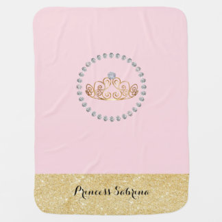 Princess with Gold Tiara with Diamond - Baby Girl Swaddle Blanket