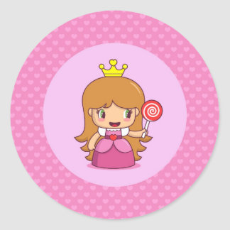 Princess with Hearts Classic Round Sticker