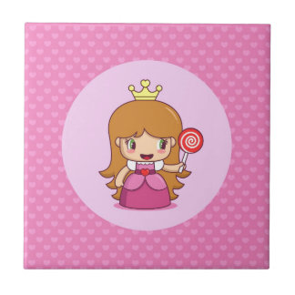 Princess with Hearts Small Square Tile