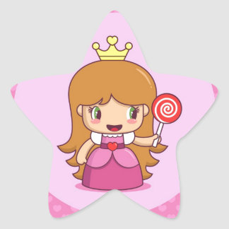 Princess with Hearts Star Sticker