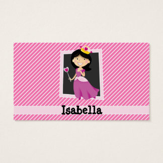 Princess with Purple Dress; Pink & White Stripes Business Card