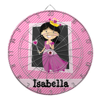 Princess with Purple Dress; Pink & White Stripes Dartboard