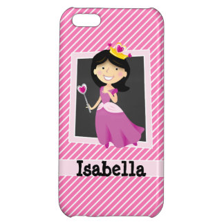 Princess with Purple Dress; Pink & White Stripes Case For iPhone 5C