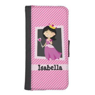 Princess with Purple Dress; Pink & White Stripes Phone Wallet Case