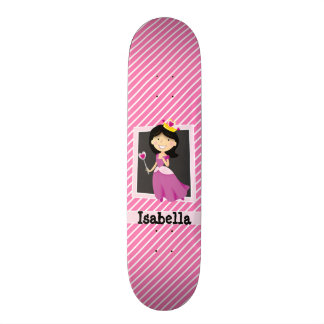 Princess with Purple Dress; Pink & White Stripes Skateboard Deck