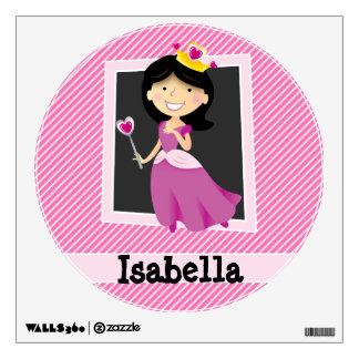 Princess with Purple Dress; Pink & White Stripes Room Decal