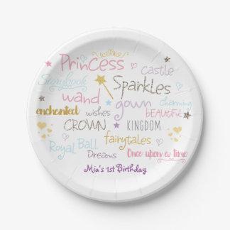 PRINCESS Words Cute Birthday Party Plates