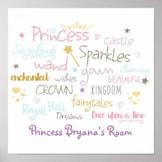 PRINCESS Words Typography Room Decor Wall Print