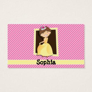 Princess, Yellow Dress; Pink & White Stripes Business Card