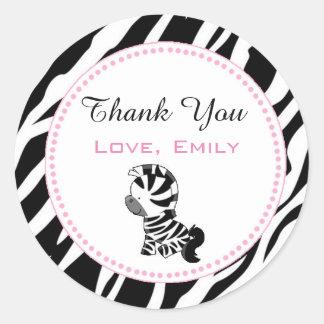 Princess Zebra Gift Favor Label Sticker Pink