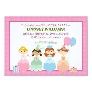 Princesses All in a Row Princess Party Invitation