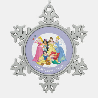 Princesses | Birds and Animals Add Your Name Snowflake Pewter Christmas Ornament