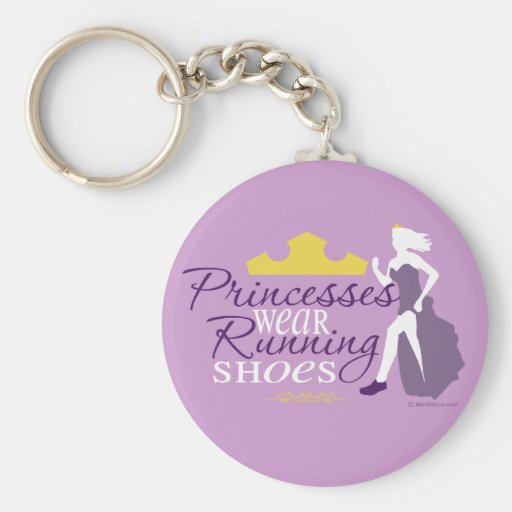 Princesses Wear Running Shoes Basic Round Button Keychain