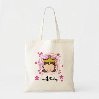 Princesss 4th Birthday Tshirts and Gifts Tote Bags