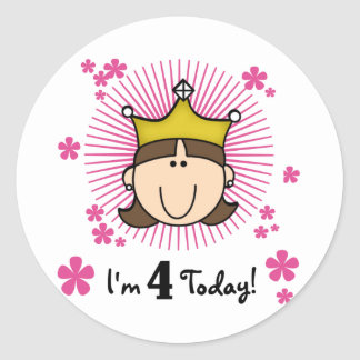 Princesss 4th Birthday Tshirts and Gifts Classic Round Sticker