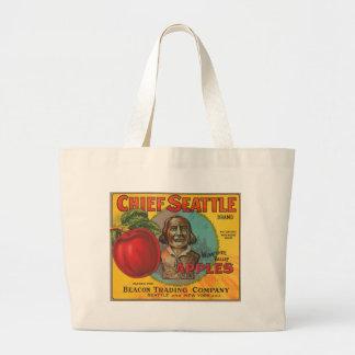 Principal etiqueta del cajón del vintage de las ma bolsa tela grande