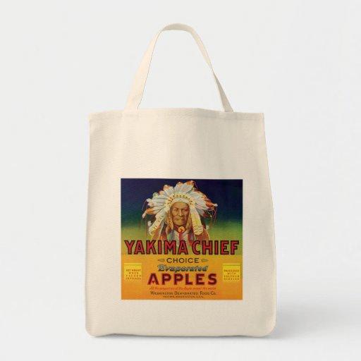 Principal etiqueta del vintage de las manzanas de  bolsa tela para la compra