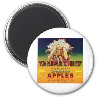 Principal etiqueta del vintage de las manzanas de  imán redondo 5 cm