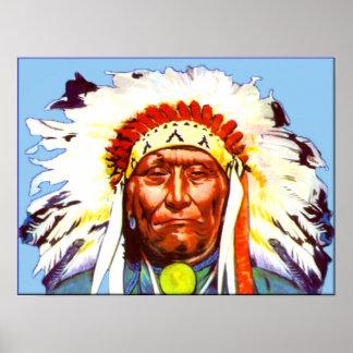 Principal impresión de la lona del nativo american póster