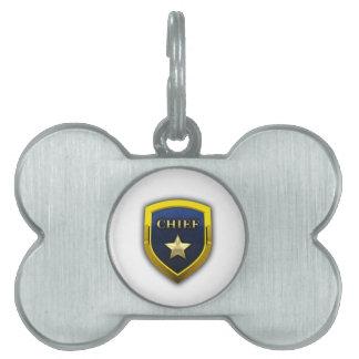 Principal insignia de oro placa de nombre de mascota