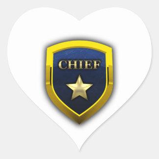 Principal insignia de oro pegatina en forma de corazón