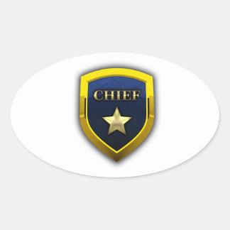 Principal insignia de oro pegatina ovalada