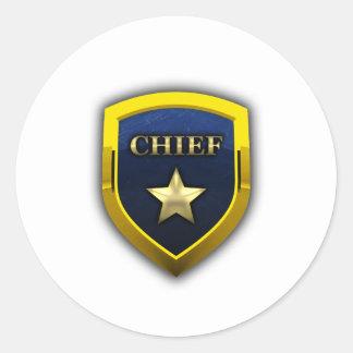 Principal insignia de oro pegatina redonda