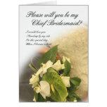 Principal invitación de boda de la dama de honor tarjeton