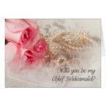 Principal invitación de Bridesmaidl con los rosas Felicitación
