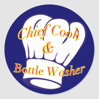 Principal limpiabotellas del cocinero y pegatina redonda