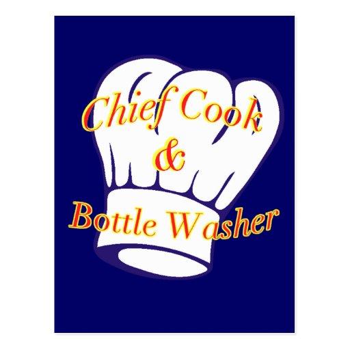 Principal limpiabotellas del cocinero y tarjetas postales