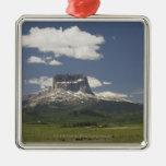 Principal montaña con los pastos de pastar ganado ornamento para arbol de navidad