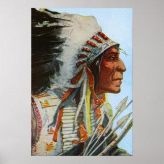 Principal nativo americano de los Blackfeet del tr Póster