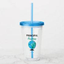 Principal Personalized Watercolor Globe Acrylic Tumbler