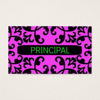 Principal Pink Damask Business Card