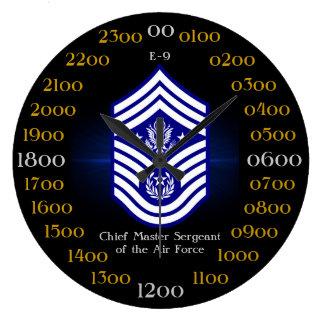 Principal sargento mayor de la fuerza aérea E-9 Reloj Redondo Grande
