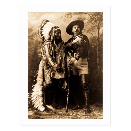 Principal sentada Bull y Buffalo Bill 1895 Postales
